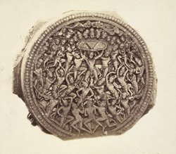 Richly sculptured disc from Amravati, photographed on site after the Government excavations of 1880